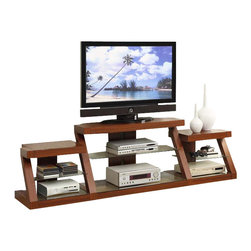 Adarn Inc. - Dark Oak Entertainment Center Multi-level TV Stand w/ Side Shelf - Display and store your home entertainment components with this multi-level tv stand with side shelving available dark oak. Accessories not included.