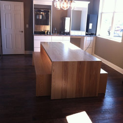 Waterfall Slab Dining Table and Benches - Solid Ash Table and benches