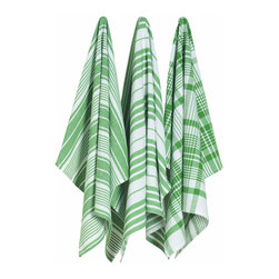 Green Oversized Kitchen Towels - Set of 3 - Clean up your kitchen in style with these oversized towels.  They come in a set of 3 so you can make sure one's always clean and one on deck for any kitchen mess that needs quick attention.  Corresponding plaid patterns add a pop of color for added fun.