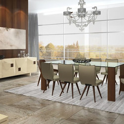 2839/2992/2995/2837 - This modern dining table is the right approach to simplicity without risking elegance and taste. It is available in five different sizes, five wood leg finishes, and a tempered clear glass top. It can be square or rectangular shaped.