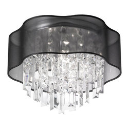 Dainolite - Dainolite 3LT Crystal Flush Mount - 3 Light Flush Mount Fixture, Polished Chrome, Black laminated Organza Shade