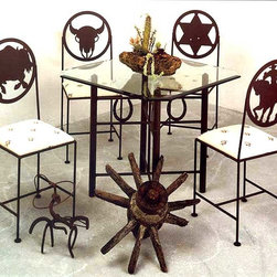 "Grace Collection - Wrought Iron Horseshoe Base Home Bar Table (A - Finish: Aged IronThis is a lovely wrought iron bar table you would look great in just about any home.  Choose the height that you would most like and then show off all of the detail work with a glass top that will allow you and guests to appreciate the construction involved in this table base.  When you need the perfect table to complete the look of your western themed personal or professional dining area, this bar table might be just what you need.  Complete with a horseshoe wrought iron base, this table is about as authentic as it gets when it comes to western styled bar and bistro furniture.  The matching beveled glass top is available as an upgrade in round and square configurations for both table base heights. * Pictured in Aged Iron. Unique Horseshoe wrought iron bistro/bar table. 36"" Tall Counter Ht.(TB2236-N) [shown w/four 24"" Frontier counter stools] . GL36SQ 36"" Square Glass-1/2"" thick"