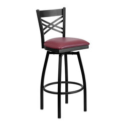 Flash Furniture - Flash Furniture Restaurant Seating Metal Restaurant Barstools - This stylish swivel bar stool will compliment any Home, Restaurant, Lounge or Bar. The 360 degree swivel seat allows you to swing around effortlessly. The comfortably padded seat will keep you and your guests comfortable and is easy to clean. The heavy duty frame makes this stool perfect for commercial or home usage. This attractive stool will add to your casual or elegant setting. [XU-6F8B-XSWVL-BURV-GG]