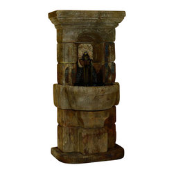 Linari Lavabo Fountain, Relic Nebbia - *Please Note: Our color chart is for example purposes only.  Monitor settings and how the finish is applied to these outdoor water fountains can vary to what is shown in the color chart.  Actual stone samples of each finish can be purchased to help you make your finish choice.