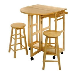 Winsome Wood - Space Saver, Drop Leaf Table with 2 Round Stools - Our Space Saver has wheels for easy transport, this bar table conveniently comes with two round stools that can be stored on the cart. There is a square drop leaf table that accommodates two people.
