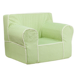 Flash Furniture - Flash Furniture Oversized Green Dot Kids Chair with White Piping - This comfy foam chair is a fun piece of furniture for children to enjoy for reading and relaxing. The Lightweight design with Carrying handle will allow this chair to be toted in several locations. The slipcover can be removed for cleaning or spot cleaned upon accidents. [DG-LGE-CH-KID-DOT-GRN-GG]