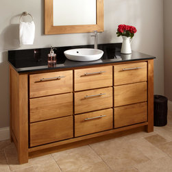 "60"" Venica Teak Vanity for Semi-Recessed Sink - Introduce the warm look of natural teak to your master bath with the 60"" Venica Vanity. Topped with stone, this vanity includes a semi-recessed sink."