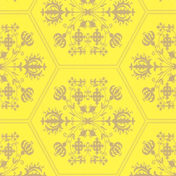 Stella - Yellow & Gold Wallpaper - Want to brighten up a dark room? This beautiful yellow and gold pattern looks relaxed and regal at the same time.