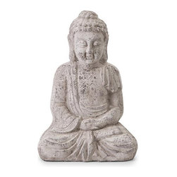 Seated Buddha Statuette - Take a page out of the Buddha's book and find some peace today. This statuette is a great starting point�a perfect reminder of the peace you want. It's equally content inside your home, or outdoors as a component of your patio garden.