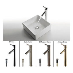 Kraus - Kraus White Square Ceramic Sink and Sheven Faucet Satin Nickel - *Add a touch of elegance to your bathroom with a ceramic sink combo from Kraus