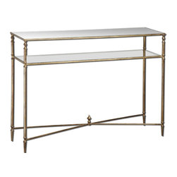 Antiqued Gold Leaf Mirrored Glass Console Table - *Forged Iron Frame And Iron Cross Stretchers In Antiqued Gold Leaf. Top Is Reinforced Mirror And Gallery Shelf Is Clear Tempered Glass.
