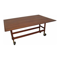 Mid-Century Drop Leaf Dining Table on Casters - Michele @ MIX Vintage
