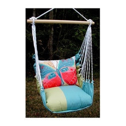 Magnolia Casual Paper Butterfly Hammock Chair and Pillow Set - Sink into the comfort of this Magnolia Casual Hammock Chair and Pillow Set. The weather-, fade-, and-mildew-resistant 100% polyester Sundure fabric has the luxurious feel of cotton, making this single-layered hammock more breathable than quilted hammocks. It comes with a matching seat pillow and a coordinating back pillow to envelop you in such comfort that you'll find yourself lingering outdoors way longer than usual! A matching tote bag makes it super easy to carry this hammock with you when you go on vacations. Hanging hardware is not included as there are many ways and places to enjoy this chair. A pamphlet with suggestions and instructions is included. If you are someone who revels in life's simple pleasures, you'll surely enjoy soaking in the summer sunshine cuddled up in this hammock chair. Features: Weight capacity: 250 lbs. Spreader bar width: 33 inches Approximate height from seat to top of ring is 4 feet Seat pillow measures 18L x 18W inches Back pillow measures 24L x 19W inches Tote measures 16L x 24 W inches (not including the straps) Wood spreader bar is attached to 100% polyester rope Pillow insert is 100% polyester Indoor/outdoor is weather resistant, fade resistant, and mildew resistant Zipper closure on pillow for easy cover removal Pillow covers are machine washable About Magnolia CasualMagnolia Casual sweeps you off your feet and into the relaxation zone by offering a wide variety of hammocks and swings, along with complementary comfortable pillows manufactured from fade- and mildew-resistant polyester that holds up well to outdoor use. Based in Pascagoula, Miss., Magnolia Casual's Sundure Fabrics are colorful, and the hammocks and swings are built for durability and years of enjoyment. The company also offers shower and hamper curtains that will brighten your home.