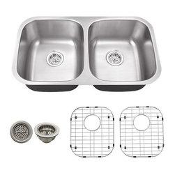 Schon - Schon 18-Gauge 32 1/4 x 18 1/2 50/50 Sink - SC505018 18 Gauge Schon Undermount Sink Stainless Steel 50/50 Sink 32 1/4 x 18 1/2