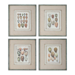 Uttermost - Study of Eggs Framed Art, Set of 4 - These oil reproductions feature a hand applied brushstroke finish and are accented by gray, oatmeal linen mats. Frames have an outer edge in lightly distressed, muted aqua undertones with a heavy charcoal wash. Inner lips and fillets have an off-white undertone with heavy taupe wash.