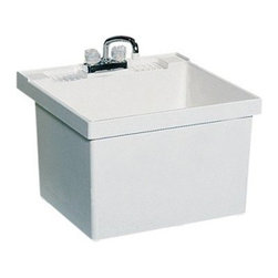 SWAN ST10000WM.001 Single Basin Wall Mount Utility Sink - The SWAN ST10000WM.001 Single Basin Wall Mount Utility Sink is a simple addition to any laundry room or utility room that adds a convenient sink or soaking station. Molded from solid white Veritek, the unit features no surface coating to damage and features an integrated no-drip drain. The unit has a maximum capacity of 22 gallons. The piece mounts easily to the wall and comes with the necessary bracket assembly and hardware. Unit features a molded back-shelf and comes pre-drilled for a 4-inch center faucet (not included).About Trumbull IndustriesFounded in 1922 as a single branch plumbing supply house, Trumball Industries has evolved over the years in to a privately held corporation and full-line distributor with specialized divisions. With 6 branch locations, Trumball Industries has several divisions: an Industrial Division that provides products and services to industrial manufacturers, a Home Center Division that offers expertise in all major kitchen and bath products, a Municipal Division that offers a full line of water and sewer products, and a Master Distribution Center with 500,000 square feet housing over 80,000 products. Aside from providing quality services to their customers, the people at Trumbull Industries are happy provide a tour of any of their facilities as well as assist you with any design, layout, or purchasing decisions.