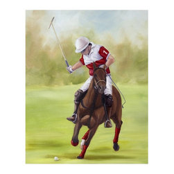"""Trademark Global - Printed Giclee Reproduction of Horse of Sport - Giclee on canvas. Ready to Hang Wall Art. Professionally mounted on a lightweight wooden frame. 36 in. W x 48 in. H x 1.5 in. depthGiclee (jee-clay) is an advanced printmaking process for creating high quality fine art reproductions. The attainable excellence that Giclee printmaking affords makes the reproduction virtually indistinguishable from the original artwork. The result is wide acceptance of Giclee by galleries, museums, and private collectors.Now you can experience all the passion and spirit of Michelle Moate's atmospheric artwork. """"Horse of Sport I"""" will be a hansome accent to any home or office decor.Born in Pensacola, Florida in 1970, Ellen King's (now known as Michelle Moate) artistic talent began to reveal itself in the form of drawing at an early age. She studied art and psychology at Wesleyan College in Macon, and later at Oglethorpe University in Atlanta. From there her interests turned toward computer art forms, which led her to attend the Art Institute of Atlanta and the Atlanta College of Art. After studying mostly computer animation, her need to express herself through paint and charcoal intensified. She began painting for the art market in 1997, and before her return to Florida, she gained notoriety within the Atlanta area as a premier local artist. She was also nominated for national recognition through the Academy of Fine Art Foundation's fine arts award program in 2002. She has consistently donated art for various charities, and has attended art shows throughout the southeast, as well as Art Expo New York in 1998, 1999, and 2002.Ellen's work evokes a mood of warmth and passion through the colors of her palette. From horses to wine, her art demonstrates her own personal connection with the subjects. Her overall style is impressionistic, and sometimes a few contemporary mediums are added to enliven the compositions and give them more pizazz. Ellen states: """"I took on the role as"""