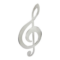 Large Polished Aluminum Treble Clef Wall Art 35 In. - This polished aluminum wall hanging is in the shape of a huge treble clef, and is a wonderful addition to the home of music lovers. It measures 35 inches tall, 16 inches wide, 1/2 inch thick and easily mounts to the wall with a single nail or screw. Its smooth, reflective surface makes this piece a great decorative item for clubs, and is sure to catch your eye.