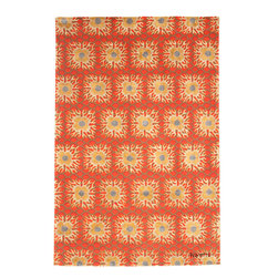 Tony Duquette Tibetan Sun - Tony Duquette - Tibetan Sun Rug - Hand Knotted in Wool and Silk. Perfect for Living Rooms, apartments, villas and mansions with orange gold and red tones.