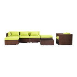"""Kardiel - Modify-It Outdoor Garden Furniture Patio Sofa Sectional Lanai 7pc Set Lime Green - Host 6 in comfortable style with the modern Lanai 7-piece set. This set centers around an open-ended ultra stylish chaise sectional.  The backdrop for elegant entertaining is completed with the introduction of a single stand-alone armchair and coordinating tempered glass top coffee table. The flexible nature of Modify-It modular allows for customized reconfiguring of the layout at will. The design origins are Clean European. The elements of comfort are inspired by the relaxed style of the Hawaiian Islands. The Aloha series comes in many configurations, but all feature a minimalist frame and thick, ample modern cube cushions. The back cushions are consistent in shape, not tapered in to create the lean back angle. Rather the frame itself is specifically """"lean tapered"""" allowing for a full cushion, thus a more comfortable lounging experience. The cushion stitch style utilizes smooth and clean hand tailoring, without extruding edge piping. The generously proportioned frame is hand-woven of colorfast, PE Resin wicker. The fabric is Season-Smart 100% Outdoor Polyester and resists mildew, fading and staining. The ability to modify configurations may tempt you to move the pieces around... a lot. No worries, Modify-It is manufactured with a strong but lightweight, rust proof Aluminum frame for easy handling."""