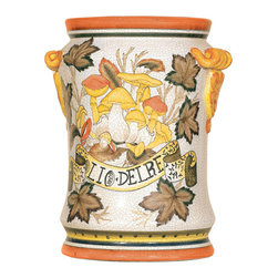 Welcome Home Accents - Decorative Tuscan Inspired Jar with Cover - Olio De Re-Oil of the King. Return to the Italian countryside with the artistry of hand painted porcelain with a crackle finish. Whether you use this jar to display greenery or just on its own, it makes a regal statement in any room. Soft brown, oranges and greens. Top is removable.
