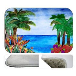 Tropical Beach Plush Bath Mat, 30Z20 - Bath mats from my original art and designs. Super soft plush fabric with a non skid backing. Eco friendly water base dyes that will not fade or alter the texture of the fabric. Washable 100 % polyester and mold resistant. Great for the bath room or anywhere in the home. At 1/2 inch thick our mats are softer and more plush than the typical comfort mats.Your toes will love you.
