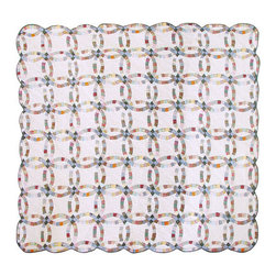 Patch Quilts - Country Wedding Ring Quilt  Luxury King 120 x 106 Inch - Intricate patchwork and beautiful hand quilting  - Bedding ensemble from Patch Magic Patch Quilts - QLKCWR