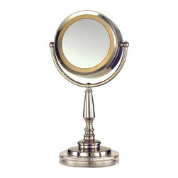 Dale Tiffany - Dale Tiffany PA12300 Cerritos Transitional Mirror with Light - Your inner beauty will shine through with our Cerritos lighted mirror. This handsome fixture will be a welcome addition to any room in your home. A round mirror rests on a harp to allow the mirror to be adjusted to any angle. An illuminated circle runs around the mirror, providing just the right amount of light. The contemporary style base is made of metal and is finished in shimmery satin nickel, which will complement any décor style. Perfect for a power room or boudoir, Cerritos also makes a conversation starter when used as an accent light anywhere in your home.