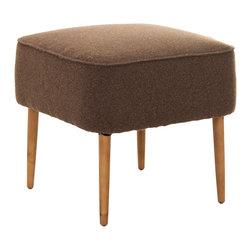 """Safavieh - Eli Brown Ottoman - Mid-century modern style takes center stage with the Eli ottoman's simple design. Plush brown upholstery and sleek spindle legs lend the footstool alluring detail. 19.7""""W x 19.7""""D x 18.5""""H ; Oak; Wool and polyester upholstery; Spot clean only"""