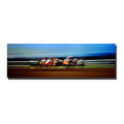 Trademark Art - Finish Line Giclee Canvas Art by Preston - 16 - Artist: Preston. Title: Finish Line. Gallery Wrapped Giclee Canvas Art. Canvas wraps around the sides and is secured to the back of the wooden frame. Frameless presentation of the finished painting. 48 x 16 x 2 (8 lbs.)