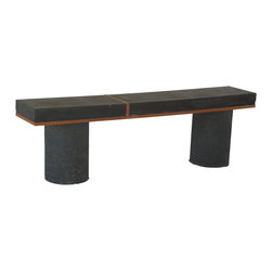 """VerteX design studio - Concrete Black Bench - One of the kind black concrete and Mahogany wood bench. The dimensions are 12""""x 62""""x 19-1/2"""" and weight 100 lbs with 3"""" concrete top. This bench design to be used both outdoors and indoors. Cement, sand and water are the main ingredients and it is sealed with a penetrating sealer which is one of the best non-toxic options available."""