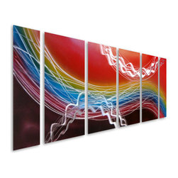 Pure Art - Soleil in Abstract Metal Wall Art Sculpture Set of 6 - An abstract rendition of the sun is the inspiration behind this decadent and very colorful wall art hanging! The Soleil in Abstract Metal Wall Art Sculpture Set of 6 features a fabulously rainbow display of colors from red to purple and more, all accentuated by bands and swirls of silver.  This must-have metal wall hanging is sure to turn heads in any space in the home or office decor, and is handcrafted and handpainted for long lasting good looks that you will adore.  Large sized metal wall hanging is ideal for hanging on larger walls or atop large furniture itemsMade with top grade aluminum material and handcrafted with the use of special colors, it is a very appealing piece that sticks out with its genuine glow. Easy to hang and clean.