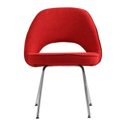 Hampton Modern - Eero Saarinen Style Executive Side Chair, Red - This incredibly comfortable dining or accent chair has a tiny flex that gives way when you lean back and that makes all the difference in turning this timeless classic style into a very functional and comfortable dining chair or accent chair.