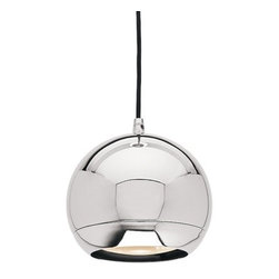 Access Lighting - Mirrored Chrome Retro Ball Pendant - 52102-CH - Adds a sleek retro feel to most decors while providing a bright light. Includes 10-ft of field-cuttable wire. Takes (1) 50-watt halogen PAR36 bulb(s). Bulb(s) sold separately. Dry location rated.