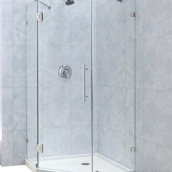 "DreamLine - DreamLine PrismLux 34 5/16"" by 34 5/16"" Frameless Hinged Shower - The PrismLux shower enclosure incorporates a unique corner installation design to save space while creating a beautiful focal point. The modern enclosure combines the rich look of impressive  thick tempered glass and the clean lines of a completely frameless design for an upscale custom look. Add a DreamLine shower base and shower backwalls and for an efficient and cost effective way to dramatically transform any shower space. 34 5/16 in. D x 34 5/16 in. W x 72 in. H ,  3/8 (10 mm) thick clear tempered glass,  Chrome or Brushed Nickel hardware finish,  Frameless glass design,  Out-of-plumb installation adjustability: No,  Solid brass self-closing hinges,  wall mount brackets and wall-attached stainless steel support bars,  Designed to be installed against finished walls (not directly to studs),  Door opening: 23 5/8 in.,  Two stationary panels: 16 3/4 in. and 17 3/4 in.,  Reversible for right or left door opening installation,  Material: Tempered Glass, Aluminum,  Optional SlimLine shower base available ,  Tempered glass ANSI certifiedNote: To minimize possible leakage, install shower head opposite of the shower opening pointed toward tiled walls, fixed panels or directly down the floorProduct Warranty:,  Limited 5 (five) year manufacturer warranty"