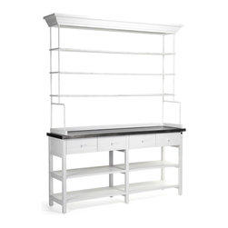 Kathy Kuo Home - Marion Classic White Industrial Metal Large Display Shelf Bakers Rack - The baker's rack was born of necessity but becomes a thing of beauty in this white metal display case. Six spacious shelves and four deep drawers provide storage and display areas for a kitchen, pantry or store. Stately dimensions are enhanced with detailed moldings on the top of the rack.