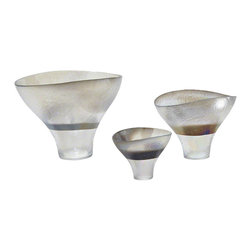 Global Views - Moon Stone Flower Bowl- Small - Murano Italian glass manipulated by hand into this organic shape.