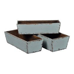 Antique Revival - Aqua 3-Piece Carroll Planter Set - Three nesting planters (small, medium, and large) are a great way to display a counterop herb garden in your kitchen or on a patio. The planters are sturdy and solid with light distressing around the edges and a bright aqua paint color. The planters conveniently fit inside each other for easy storage. Item is newly made.
