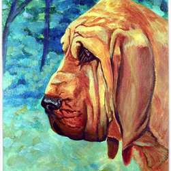 Caroline's Treasures - Bloodhound Thoughtful Glass Cutting Board Large Size - Large Cutting Board .. . Made of tempered glass, these unique cutting boards are some of your favorite artists prints. 15 inches high and 12 inches long, they will beautify and protect your counter top. Heat resistant, non skid feet, and virtually unbreakable!