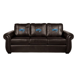 Dreamseat Inc. - Orlando Magic NBA Chesapeake Black Leather Sofa - Check out this Awesome Sofa. It's the ultimate in traditional styled home leather furniture, and it's one of the coolest things we've ever seen. This is unbelievably comfortable - once you're in it, you won't want to get up. Features a zip-in-zip-out logo panel embroidered with 70,000 stitches. Converts from a solid color to custom-logo furniture in seconds - perfect for a shared or multi-purpose room. Root for several teams? Simply swap the panels out when the seasons change. This is a true statement piece that is perfect for your Man Cave, Game Room, basement or garage.