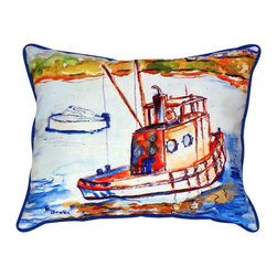 Betsy Drake - Betsy Drake Rusty Boat Pillow- Indoor/Outdoor - Rusty Boat Pillow - Large indoor/outdoor pillow. These versatile pillows are equally at home enhancing a seaside interior design or adding coastal charm to an outdoor setting. They feature printed outdoor, fade resistant fabric for years of wear and enjoyment. Solid back, polyfill.
