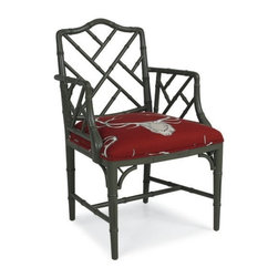 "Silver Nest - CR Laine Betty Chair- 23""w 23""d 36""h - Bamboo Style Arm Chair with Red Antler Print Fabric Seat."