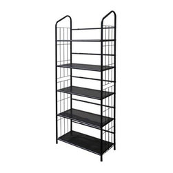 ORE International - 5-Tier Metal Wire Bookcase in Black Finish - 5-Shelves. Open back design. Wire side panels . Made of metal. Minimal assembly required. 26 in. W x 11 in. D x 64 in. H (18 lbs.)Minimalist and industrial with a modern, urban edge, this metal bookcase will be a versatile addition to any home's decor. Inspired by a baker's rack, the unit is perfect for a home office, dorm room or anywhere you want to add extra storage.