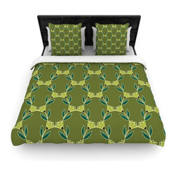 """Kess InHouse - Holly Helgeson """"Flora Vine"""" Olive Green Cotton Duvet Cover (Queen, 88"""" x 88"""") - Rest in comfort among this artistically inclined cotton blend duvet cover. This duvet cover is as light as a feather! You will be sure to be the envy of all of your guests with this aesthetically pleasing duvet. We highly recommend washing this as many times as you like as this material will not fade or lose comfort. Cotton blended, this duvet cover is not only beautiful and artistic but can be used year round with a duvet insert! Add our cotton shams to make your bed complete and looking stylish and artistic!"""