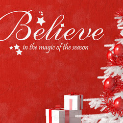 Decals for the Wall - Wall Decal Quote Vinyl Sticker Art Lettering Large Believe Christmas Holiday C5 - This decal says ''Believe in the magic of the season''
