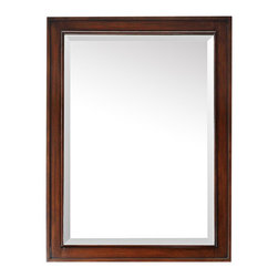 """Lamps Plus - Rustic - Lodge Avanity Brentwood Walnut 24"""" x 32"""" Wall Mirror - From Avanity this handsome rectangular wall mirror is sure to complement just about any décor style. A beautiful beveled mirror sits within a walnut finish wood frame with raised edges. Ready to hang this mirror comes with a wood cleat at the back and stands at 32"""" high. Rectangular wall mirror. Solid wood frame. Walnut finish. Beveled mirror glass. Wood cleat for hanging. 32"""" high. 24"""" wide.  Rectangular wall mirror.   Solid wood frame.   Walnut finish.   Beveled mirror glass.   Wood cleat for hanging.   32"""" high.   24"""" wide."""