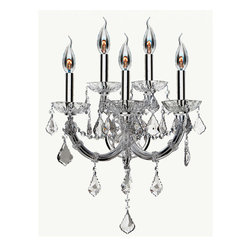 Worldwide Lighting - Lyre 5 Light Chrome Finish with Clear Crystal Wall Sconce - CLEARANCE - This stunning 5-light wall sconce only uses the best quality material and workmanship ensuring a beautiful heirloom quality piece. Featuring a radiant chrome finish and finely cut premium grade clear crystals with a lead content of 30%, this elegant wall sconce will give any room sparkle and glamour. Worldwide Lighting Corporation is a premier designer manufacturer and direct importer of fine quality chandeliers, surface mounts, and sconces for your home at a reasonable price. You will find unmatched quality and artistry in every luminaire we manufacture.