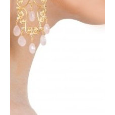 Chandelier earrings with rose quartz available only at Pernia's Pop-Up Shop.