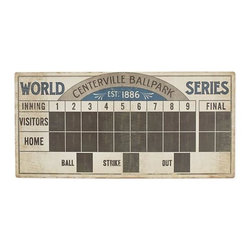 Root for the Home Team Scoreboard Wall Art - A chalkboard decal lets sports fans keep track of their own team's or favorite MLB team's scores.