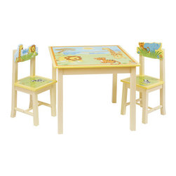 "Guidecraft - Guidecraft Savanna Smiles Table & Chairs Set - The Savanna Smiles collection features striped and spotted animals grazing and playing about the safari; lions, giraffes, elephants, zebras, tigers, hippos and friends can be spotted throughout the set. Hand-painted seating and storage pieces will add playful color, character, and interest to any child's room or play area. Adult assembly required. Ages 2+. Table is 28""W x 28""D x 20""H. Each chair is 13""W x 12""D x 25.8""H. Seat height 12""."